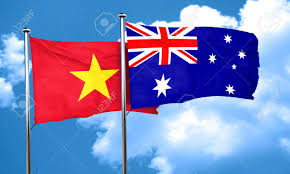 Viet Nam Flag Vietnam Flag With Australia Flag 3d Rendering Stock Photo