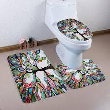 3pcs coral fleece tree of life bathroom mat set colorful in bath