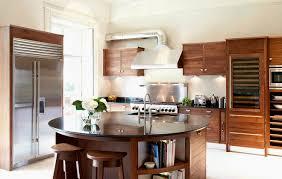 Kitchen Island Extractor Hoods Contemporary Kitchen Wood Veneer Island Round Walnut