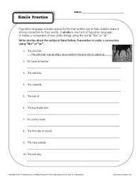 simile worksheet simile practice
