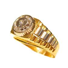 gold mens rings images Rolex design yellow and white 14ct gold mens ring r1160 jpg
