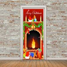 merry christmas fireplace pattern door stickers colorful cm