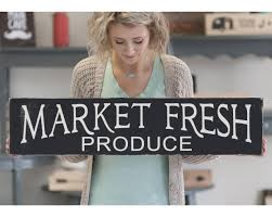 market fresh produce rustic home decor wood sign kitchen