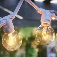 Outdoor Bulb Lights String by 50 Socket Outdoor Commercial String Light G40 Globe Bulbs 54 Ft
