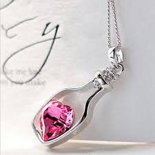 new necklace charms images New fashion chain crystal heart pendant necklace women jewelry jpg