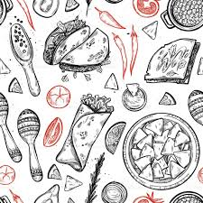 food vector hand drawn vector background mexican food stock vector art