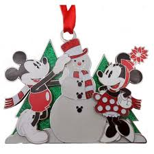 your wdw store disney disc ornament mickey and minnie snowman