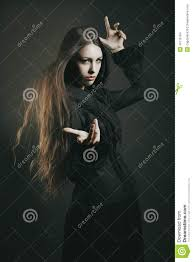 beautiful young witch casting a spell stock photo image 45118184