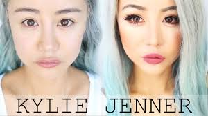 asian kylie jenner makeup transformation tutorial for hooded asian eyes blue hair look wengie you