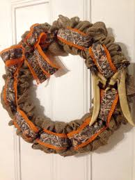 realtree camo ribbon burlap wreath with realtree camo and antler monogram