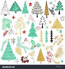 christmas set design elements christmas trees stock vector