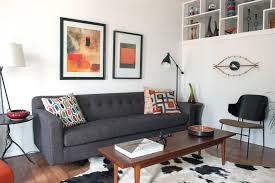 double sided sofa living room midcentury with black side chair
