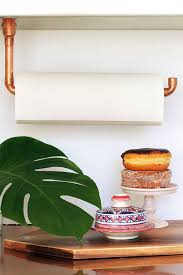 kitchen towel holder ideas diy suspended copper pipe paper towel holder squirrelly minds