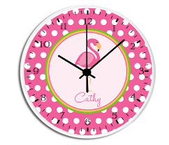 pink flamingo personalized childrens decorative wall clock wall