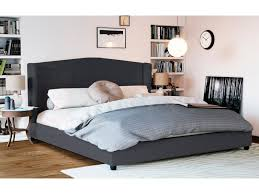 double size fabric wing bed frame tribecca collection dark grey