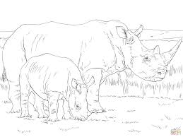 white rhino mother and baby coloring page free printable