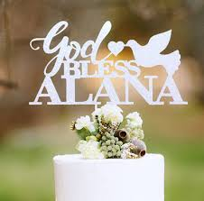 communion cake toppers acrylic baptism communion custom name gold bless christening
