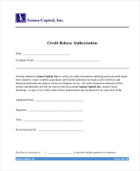 Credit Release Form Generic Release Forms