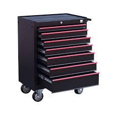 rolling tool storage cabinets homcom steel rolling tool chest storage cabinet with 7 sliding