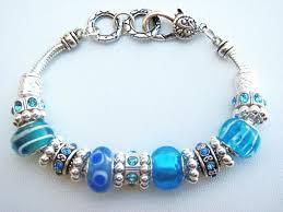 murano bead bracelet images Turquoise blue murano glass bead bracelet pandora inspired vintage JPG