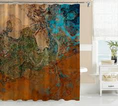 Turquoise Shower Curtains Abstract Shower Curtain Contemporary Bathroom Decor
