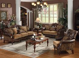 Leather And Fabric Living Room Sets Acme Dreena Traditional Bonded Leather And Chenille Living Room