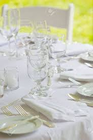 Wedding Table Set Up A Wedding Table Set Up For Fine Dining In All White Stock Photo