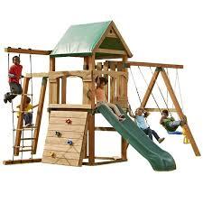 Backyard Discovery Winchester Playhouse Swing N Slide Play Set Trekker Swing Set U0026 Reviews Wayfair