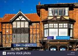 tudor house in the high street in the typical english market town