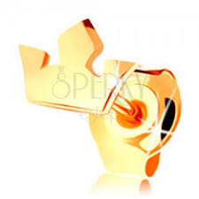cercel de buric din aur cercel din aur galben de 14k coroană mică în trei puncte șurub
