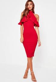midi dress high neck frill cold shoulder midi dress missguided