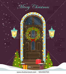 Christmas Decoration For Entrance by House Door Decoration Christmas Holidaysfront Door Stock Vector