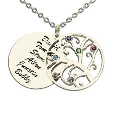 Name Plate Jewelry Birthstone Family Tree Necklace Personalized Mother Necklace