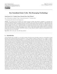 dye sensitized solar cells the emerging technology