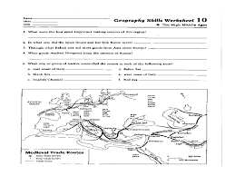geography skills worksheet high middle ages 6th 12th grade