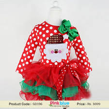 Shop Online in India Infant Santa Claus Dress in Red and White