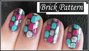 easy brick pattern nail art design free hand nails tutorial
