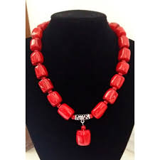 natural coral necklace images Red cylinder coral necklace jpg