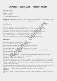 Job Gym Resume by Pe Teacher Resume Physical Education Teacher Resume Example West