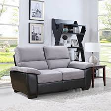 Amazoncom Divano Roma Classic Soft Microfiber And Bonded Leather - Microfiber living room sets