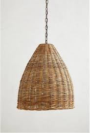 Anthropologie Lighting High Low A Trio Of Woven Wicker Pendant Lights Pendant Lamps