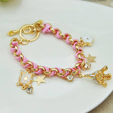 crystal rope bracelet images New hot sell fashion jewelry multielement gold chain leather rope jpg