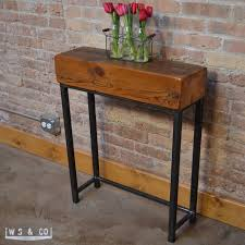 Metal Entry Table Reclaimed Beam Entry Table 24 Reclaimed Wood Metal Legs Aftcra