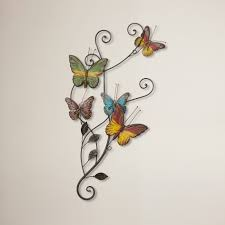 Large Butterfly Decorations by Hand Painted Metal Bright Pink Butterfly Wall Art Outdoor Garden