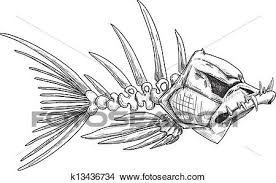 clipart of sketch of evil skeleton fish with sharp teeth k13436734