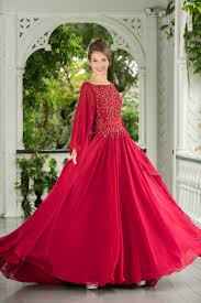 long sleeve beaded embroidered bodice raspberry red floor length