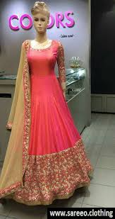 gown design designer gajari carrot color paper silk embroidered gown