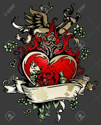 classic rose heart with wing tattoo emblem royalty free cliparts