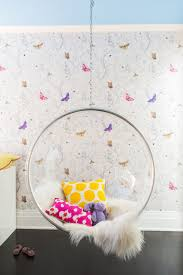 girls bedroom with clear hanging bubble chair contemporary