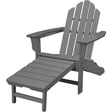 White Armchair With Ottoman Hanover All Weather Contoured Adirondack Chair With Hideaway